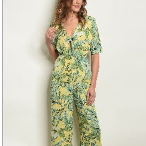 LOVE J, YELLOW WITH FLORAL PRINT JUMPSUIT